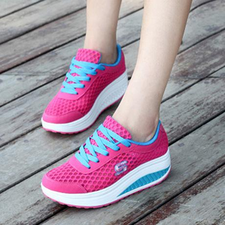 Womens Casual Breathable Mesh Shape-Ups Slip On Lace Up Walking Comfy Shoes Sneakers women's shoes NX36 Free Shipping