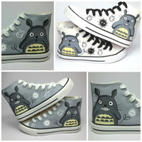 Wholesale Totoro Canvas - New personalized casual hand-painted canvas Totoro shoes   cartoon gaobang lace shoes (2 color:gray and white) Unisex