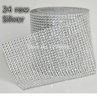 Wholesale Plastic Mesh Trimming - Wholesale-Silver plastic rhinestone mesh trimming sew on mesh trim 24 rows 4mm silver base 10 yards roll mesh trmming Without Rhinestone