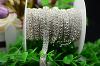 Wholesale Rhinestone Close Chain - Wholesale-1 yard 3 row Crystal Rhinestone Close Chain Trims Color bridal appliques trims( crystal in silver) sewing accessoriesrd
