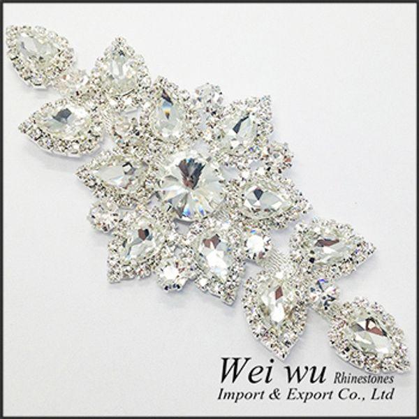Gros-haute qualité couture sur strass appliques 1 pcs base argent cristal clair couleur bricolage mariage robe de soirée