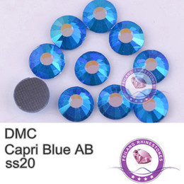 Wholesale Hot Fix Rhinestone Wholesale - Wholesale-20SS Capr-i blue AB SS 4.6-4.8mm DMC Hot Fixing Rhinestones For Motifs And DIY Accessories