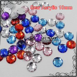Wholesale Color Acrylic Gem Stones - Wholesale-10mm Mix Color Sew On Acrylic Rhinestone Round Flatback Gems Strass Crystal and Stones For Clothes Dress Decorations 1000 Pc