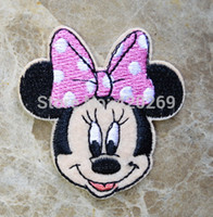 Wholesale Iron Embroidered Patch Minnie - Wholesale-free shipping! Minnie Pink butterfly embroidered Iron On Patches cartoon badge Guaranteed Quality Appliques diy accessory