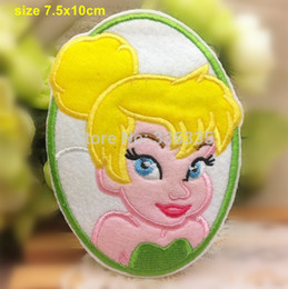 Wholesale Princess Applique Sew - Wholesale-Free Shipping 10 pcs Tinkerbell princess Embroidered patch iron on Motif sew on iron on Applique DIY accessory