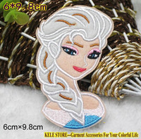 """Wholesale Wholesale Stores Clothes - Wholesale-kele store-Size: 10*7.6cm,4"""" Frozen Girls Snow Queen Elsa cloth patches Embroidered clothing Patches iron-on Patches"""