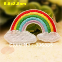 Wholesale Cute Iron Patches - Wholesale-free shipping 10 pcs cute rainbow embroidered Iron On Patches cartoon badge Guaranteed Quality Appliques diy accessory