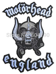 Wholesale Large Iron Patches - Wholesale-MOTORHEAD ENGLAND EXTRA LARGE IRON ON PATCH for BIKER VEST LEATHER JACKET BACK Heavy Metal wholesale Free Shipping