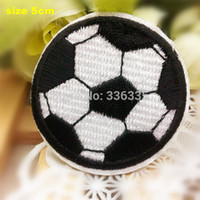 Wholesale Iron Patches Football - Wholesale-Free Shipping 10 pcs Football cartoon Embroidered patch iron on Motif sew on iron on Applique DIY accessory