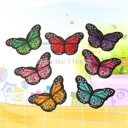 Wholesale Garment Butterfly - Wholesale-7pcs Embroidered butterfly patch iron on Motif Applique, garment embroidery DIY Accessories