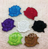 Wholesale Pcs Garment Accessories - Wholesale-Free shipping flower patches iron on ROSE shape embroidery appliques garment onlay ornaments 70 pcs lot