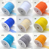 Wholesale Trim Ribbon Rolls - Wholesale-Lace Trim Embroidery Appliques Wedding, 100Yards Roll 20MM 18 Color Lace Trim, Polyester Fabric Embroidered Lace Ribbon