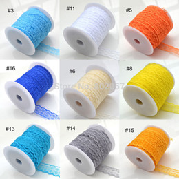 Wholesale Wholesale Embroidery Wedding Lace Fabric - Wholesale-Lace Trim Embroidery Appliques Wedding, 100Yards Roll 20MM 18 Color Lace Trim, Polyester Fabric Embroidered Lace Ribbon