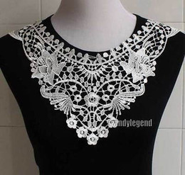 Wholesale Wholesale Lace Motifs - Wholesale-1 Pc Black White Flower Floral Motif Collar Venise Venice Lace Trim Sewing Craft