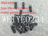 Wholesale Metal Bra Strap Accessories - 20mm garter belt for stockings clips 30pcs lot sexy Metal Durable bra Straps brief adjustable metal suspenders