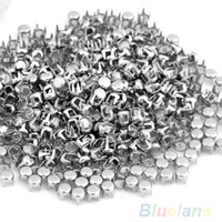 "Wholesale Spots Leathercraft Rivet - Wholesale-500 pcs Punk 0.16"" Silver Leathercraft DIY Round Studs Spots Spikes rivets and studs Rivets for bag,shoes,cloths 00XN"