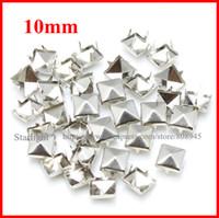 Wholesale Studs Spikes Shipping - Wholesale-studs! 10mm Pyramid Studs silver Punk Rock DIY Rivet Spike Free Shipping 1000pcs lot