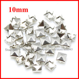 Wholesale Studs Spikes Shipping - Wholesale-studs! 10mm Pyramid Studs silver Punk Rock DIY Rivet Spike Free Shipping 1000pcs lot