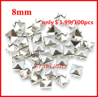 Wholesale Silver Spikes Studs - Wholesale-studs and spikes! 8mm Pyramid Studs silver Punk Rock DIY Rivet Spike Free Shipping 1000pcs lot