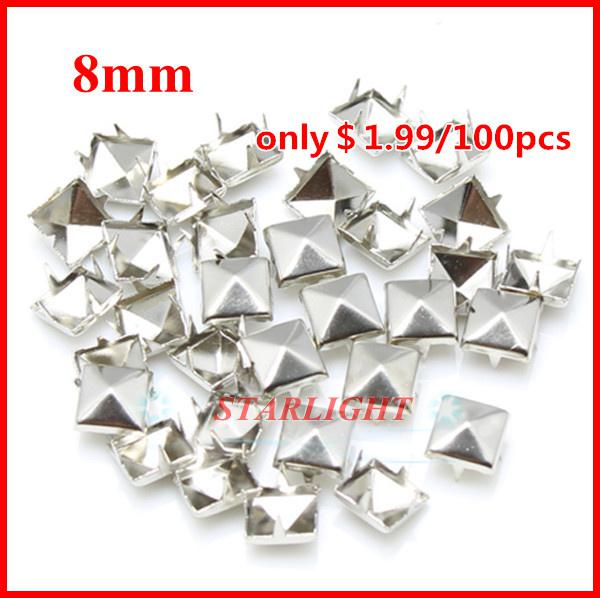 Wholesale-studs and spikes! 8mm Pyramid Studs silver Punk Rock DIY Rivet Spike Free Shipping 1000pcs/lot