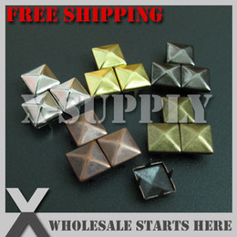 Wholesale Metal Diy Punk - Wholesale-Free Shipping Assorted Colors Punk DIY Metal Square Pyramid Stud 10mm with 4 Prongs for Leather Craft Bag Shoe Clothing Jacket
