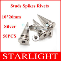 Wholesale Spikes Punk Leathercraft - Wholesale-10*26mm Silver Screwback Spikes Studs Punk Rock leathercraft DIY Rivet Free Shipping 50pcs lot studs for clothing