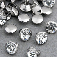 Wholesale Nailhead Spots Wholesaler - Wholesale-100 Sets 6mm CZ Crystals Rhinestone Rivets Rapid Silver Nailhead Spots Studs DIY Shipping Free