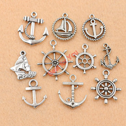 Wholesale Anchor Charm Tibetan - Wholesale-Anchor Charm Mixed Tibetan Silver Tone Rudder Fashion Pendants Jewelry Diy Jewelry Making 10pcs c016