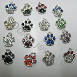 Wholesale Tiny Charm Wholesale - Wholesale-Mix Color 1cm Tiny Crystal Alloy Paw Charm fit for DIY Dog or Cat or Bear Pet Jewelry Bracelet DIY pendant
