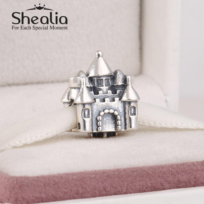 2017 wholesale new 925 sterling silver castle charms with 14k gold