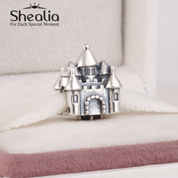 Wholesale Pandora 14k Gold Charms - Wholesale- New 925 sterling silver castle charms with 14k gold plated crown fairytale charms for women fits pandora style diy bracelet