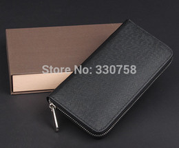 Wholesale Ship Pursed Brand Name - Classic Cross Texture Long Wallet For Men Name Designer Brand Luxury Male Purse Day Clutch Handbag 3 Colors Free Shipping