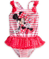 Wholesale Boys Swimmers - Free shipping Minnie mouse girl girls purple swimwear swimmer bather swimsuit 10pcs lot OGS23 free shipping