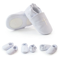 Wholesale Girls Baptism Shoes - Hot Selling Babies Cross Baptism Christening Shoes Church Soft Sole Unisex Leather Shoes &Drop shipping