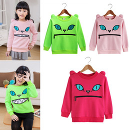 Wholesale Smile Cat Sweater - New Children Girl's Colored Zipper Smile Mouth Shoulder 3D Ear Cat Front Jumper Sweater Long Sleeve Fleece Sweatshirt Tops