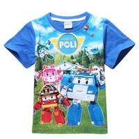 Wholesale Baby Clothes Car Cartoon - Retail 2016 New Summer Children Boys Girls T Shirts Cartoon Car Clothing Kid Robocar Poli T-shirt for Baby Kids Sports Clothes