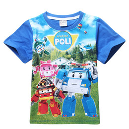 Wholesale Clothes Classic For Baby Boys - Retail 2016 New Summer Children Boys Girls T Shirts Cartoon Car Clothing Kid Robocar Poli T-shirt for Baby Kids Sports Clothes