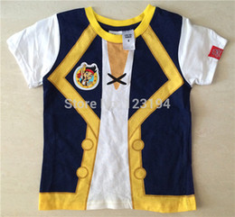 Wholesale Neverland Costumes - HOT ! Free shipping New arrival summer JAKE AND THE NEVERLAND PIRATES boy clothing Kids costumes short sleeve t-shirts for boys