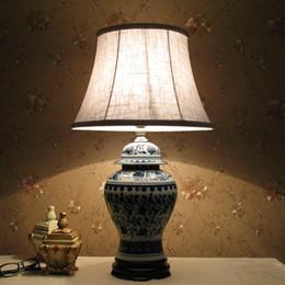 Wholesale Porcelain Blue Lamps - Jingdezhen ceramic table lamp blue and white porcelain table lamp delicate ceramic table lamp living room lamp ceramic table