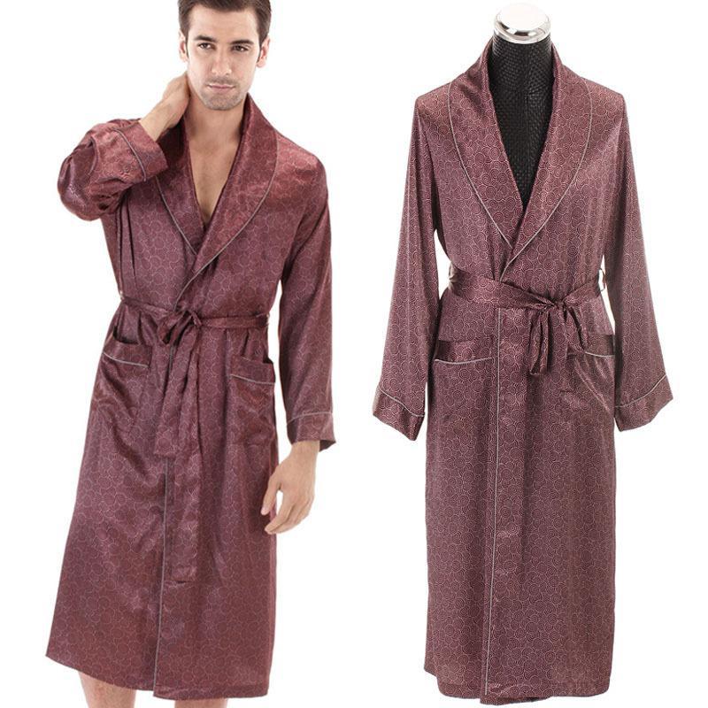New Faux Silk Mens Nightgown Long Sleeve Korean Male Lingerie Robe ...