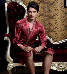 Wholesale Bath Clothes Sexy - New 2016 summer man XXXL for men pajamas Men's dressing gown Silk clothing bath robe males robes mens sexy bathrobe
