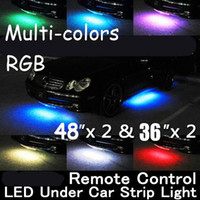 """Wholesale Under Car Led Neon Lights - 2015 Brand New WIRELESS REMOTE Multi-Color Under Car LED Glow Neon Light Kit (2*36""""+2*48"""") RGB"""