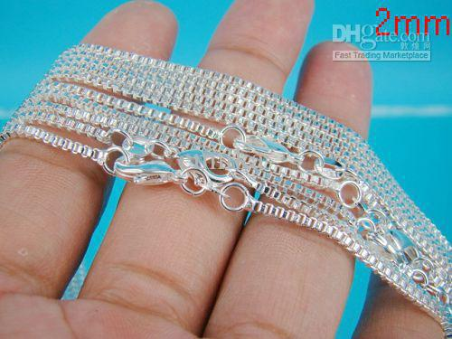 Brand New 925 silver 2mm Box Chains Necklaces multi Size 16inch ~ 24inch Fashion Jewely