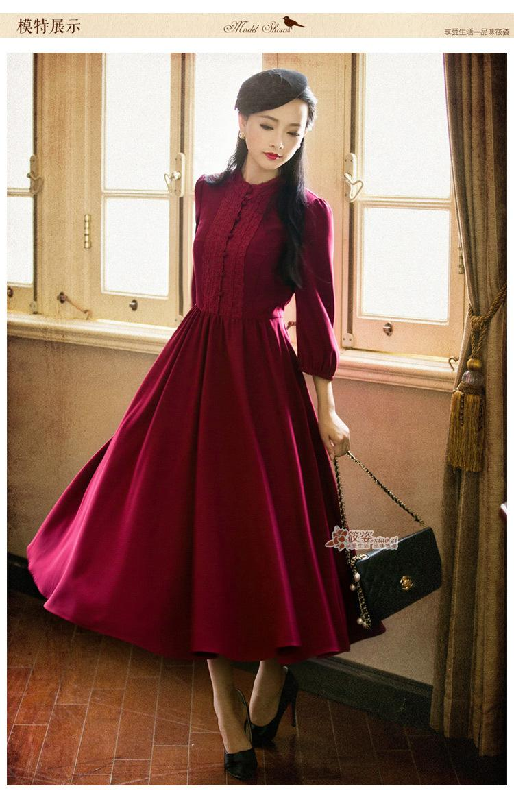 c8a9505e7e1b DEMON STYLE 2015 Autumn Vintage Women S Elegant Classic Swing Hem Dresses  Women S Clothing Original Design Mother Of The Bride Dress Retro Dresses  From ...