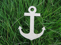 Wholesale Crafts Unfinished - Anchor Unfinished Craft with a hole wooden brooch
