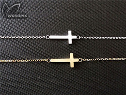 Wholesale Sideways Bracelet Charms - Wholesale 10pcs lot Gold Silver Stainless Steel Christian Jewelry Tiny Sideways Cross Charm Bracelet