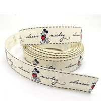 "Wholesale Grosgrain Ribbon Mice - 5 Yards Ivory Mickey Mouse 5 8"" Wide Wedding Craft Printed Grosgrain Ribbon"