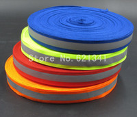 Wholesale Wholesale Reflective Sew Tape - Safety Traffic Reflective Materials Orange Reflective Fabric Strip Tape Reflective Webbing Sew 20mm*10mm(W) 10 Meters