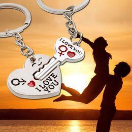 Wholesale Stone Keyring - New llavero pareja porte clef Casual Chaveiro Couple I LOVEYOU Heart Car Keychain Keyring Key Chain Lover Novelty souvenirs Gift