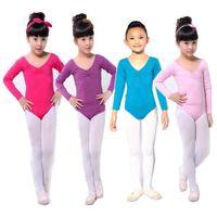 Wholesale Applique Leotards - Wholesale-Kid Girls Long Sleeve Ballet Dance Dress Fitness Gymnastics Wear Leotard Costume